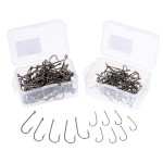 Durable  100Pcs Fishing Hooks High Carbon Steel Fishhooks  with Barb and Tiny Hole Barbed Hook Size 1# / 6#